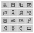 vector black home appliances icons set