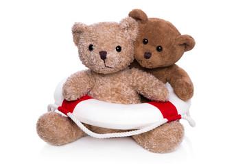 Teamwork: zwei Teddybären in einer Partnerschaft