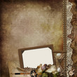 Vintage background with faded roses, frame, hourglass