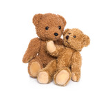 Happy family: Teddybär isoliert - Mutter und Baby