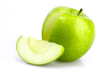 Green apple with cut and slice on white background