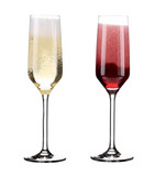 Pink and red champagne in glasses.