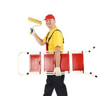 Worker with ladder and roll.