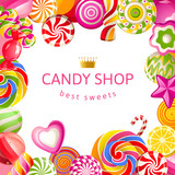 Fototapety Bright background with candies