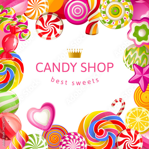 Bright background with candies - 62176770