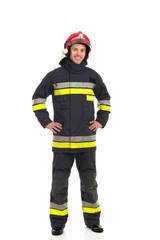 Cheerful fireman posing.