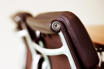 An abstract detail of a contemporary office chair
