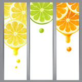 3 banners with lemon, lime and orange