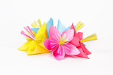 Five colored paper flowers
