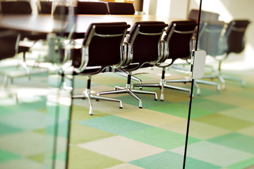 This contemporary boardroom is ready for the next board meeting