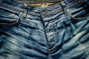 Detail of nice blue jeans in old vintage style