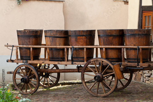 Wine barrels on a cart