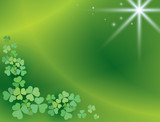 bright green background with shamrock - vector