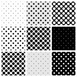 Fototapety Seamless vector black white grey polka dots pattern background