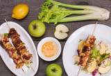 Chicken skewers with apple
