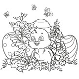 Outlined cute baby chick