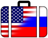 Suitcase with USA and Russia Flag