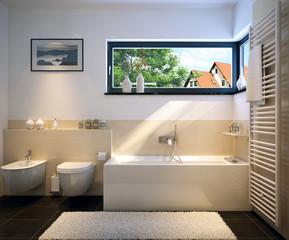 Badezimmer in Einfamilienhaus - bathroom in family house