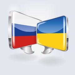 Sprechblasen mit Russland und Ukraine