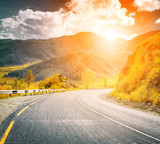 sunset mountain road poster