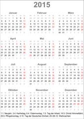 Kalender Deutschland 2015 mit Feiertagen