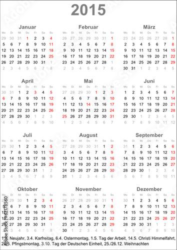 kalender deutschland 2015 mit feiertagen stockfotos und. Black Bedroom Furniture Sets. Home Design Ideas