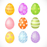 Set of colored Easter eggs