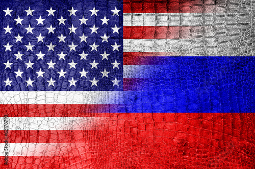 USA and Russia Flag painted on luxury crocodile texture