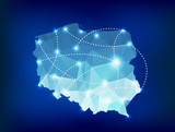 Poland country map polygonal with spot lights places