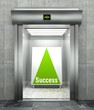Business success. Modern elevator with open door