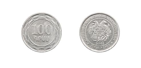 Coin 100 drams. The Republic of Armenia