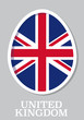 sticker flag of United Kingdom in form of easter egg