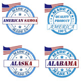 Set of stamps with made in samoa,america,alaska,alabama