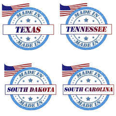 Set of stamps with made in texas,tennessee,south dakota