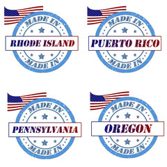 Set of stamps with made in rhode island,puerto rico,pennsylvania