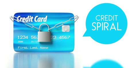 Credit spiral, card with padlock and chain