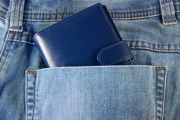 Blue wallet in his pocket