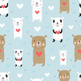 Seamless cartoon pattern with bears. Panda, polar bear .