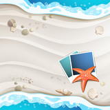 Summer beach with photo frame and starfish