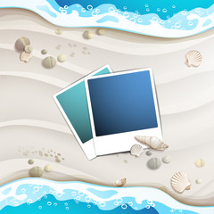 Summer beach with photos and sea shells
