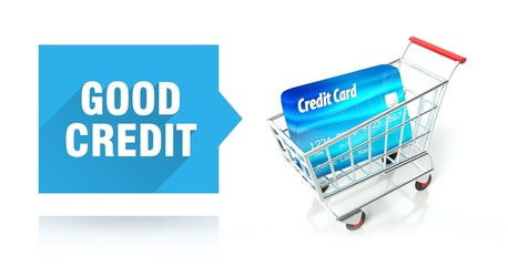 Good credit score with shopping cart