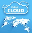 Public computing cloud over communication world map