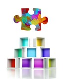 Puzzle symbol colorful 3d design illustration