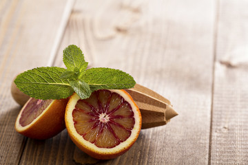 Blood oranges with fresh mint