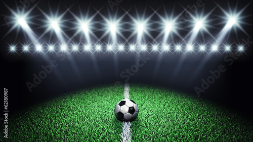 Fototapeta Soccer arena and ball with floodlights,Football field