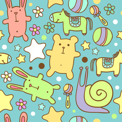seamless baby pattern with cute cartoon animals