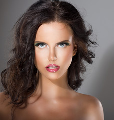 Young Woman with Perfect Healthy Clean Skin. Natural Makeup