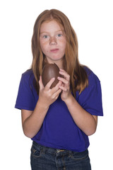 young girl with large easter egg
