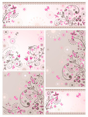 Set of greeting abstract floral cards