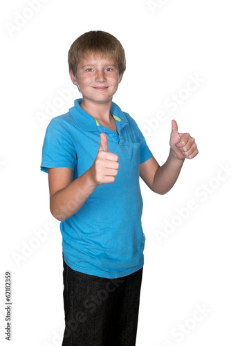 young boy holding thumbs up